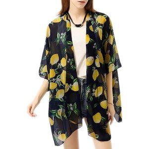 Other - Lemon Print Cover Up Kimono